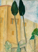 Amedeo Modigliani - Cypresses and Houses at Cagnes, 1919 height=