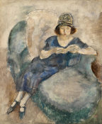 Jules Pascin - Girl in Blue Dress on Sofa, Reading (Jeune fille a  la robe bleue lisant sur un divan), c. 1922