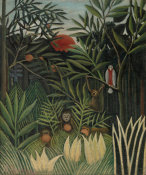 Henri Rousseau - Monkeys and Parrot in the Virgin Forest (Singes et perroquet dans la for