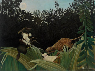 Henri Rousseau - Scouts Attacked by a Tiger (Éclaireurs attaqués par un tigre), 1904