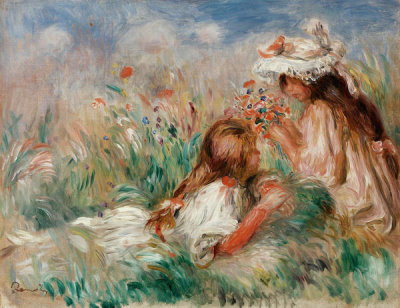 Pierre-Auguste Renoir - Girls in the Grass Arranging a Bouquet (Fillette couchée sur l'herbe et jeune fille arrangeant un bouquet), c. 1890