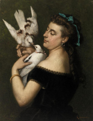 Gustave Courbet - Woman with Pigeons, mid-1860s
