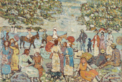 Maurice Brazil Prendergast - Beach Scene with Donkeys (or Mules), c. 1914